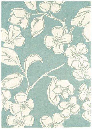 Matrix Floral Wool Rug - Devore Blue