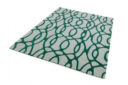 Matrix Geometric Wool Rug - Wire Green