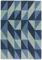 Reef Geometric Wool Rug - Flag Blue