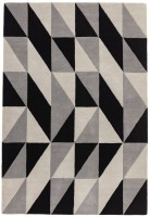 Reef Geometric Wool Rug - Flag Grey