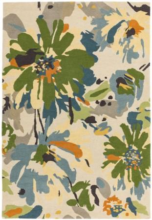 Reef Modern Wool Rug - Floral Green Multi
