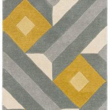 Reef Geometric Wool Runner - Motif Ochre Grey