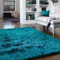 Whisper Shiny Silky Shaggy Rug - Dark Teal