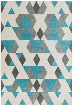 Colt Bold Geometric Rug - Pyramid Blue