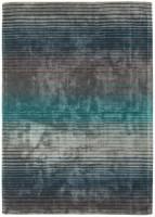 Holborn Velvety Viscose Striped Rug - Turquoise Blue