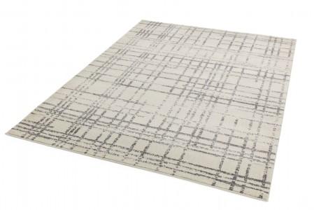 Nova Geometric Hardwearing Rug - Grid Grey NV31