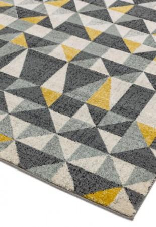 Nova Geometric Hardwearing Rug - Flag Yellow NV01