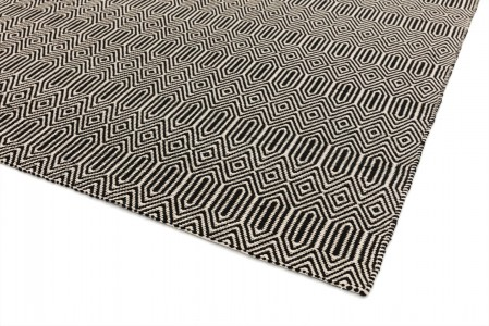 Sloan Geometric Flatweave Cotton Rug - Black White