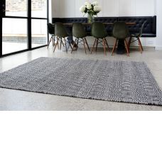 Sloan Geometric Flatweave Cotton Rug - Black White