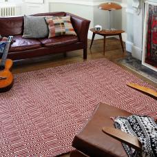 Sloan Geometric Flatweave Cotton Rug - Marsala
