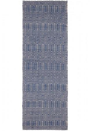 Sloan Geometric Flatweave Cotton Rug - Blue