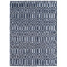 Sloan Geometric Flatweave Cotton Rug - Blue