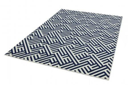 Antibes Geometric Rug - Blue White Linear AN04