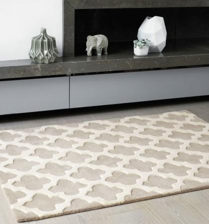 Artisan Luxurious Thick Wool Trellis Rug - Sand