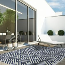 Antibes Geometric Outdoor Rug - Blue White Linear AN04
