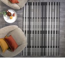 Patio Geometric In/Outdoor Rug - Black Grid
