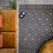 Salta Geometric In/Outdoor Rug - Charcoal Diamond