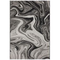 Patio Abstract In/Outdoor Rug - Black Marble