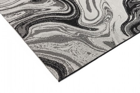 Patio Abstract Rug - Black Marble