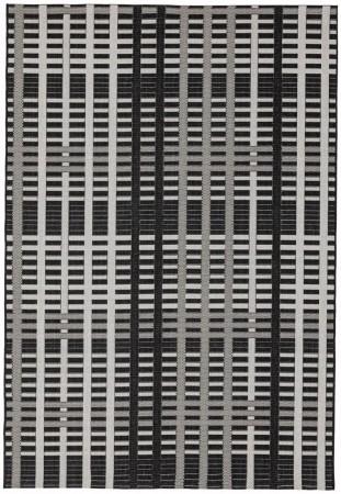 Patio Geometric Rug - Black Grid