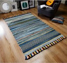 Kelim Ethnic Rug - Blue Stripe