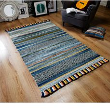 Kelim Ethnic Rug - Blue Stripe