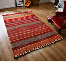 Kelim Ethnic Rug - Red Stripe