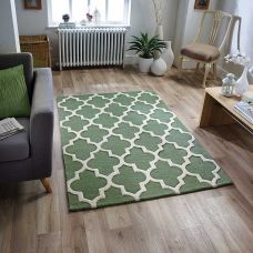 Scrolls Green Wool & Viscose Rugs