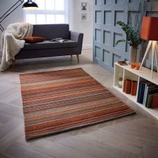 Carter Striped Rug - Rust