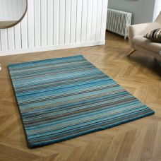 Carter Striped Rug - Teal