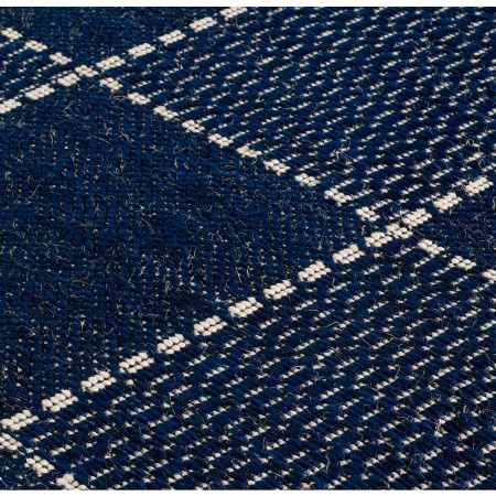 Anti Slip Checked Flatweave Rug - Blue