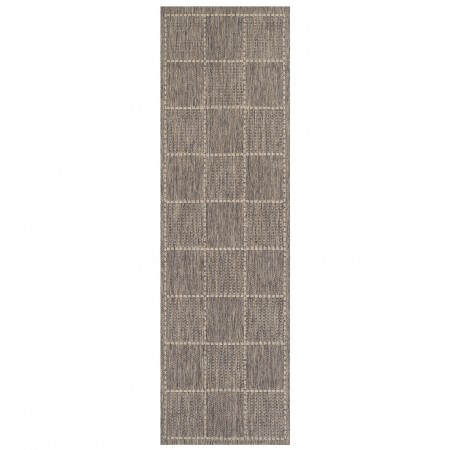 Anti Slip Checked Flatweave Rug - Grey