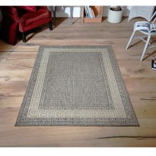 Greek Anti Slip Flatweave Rug - Grey