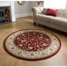Kendra Traditional Circle Rug - 137R Red Gold
