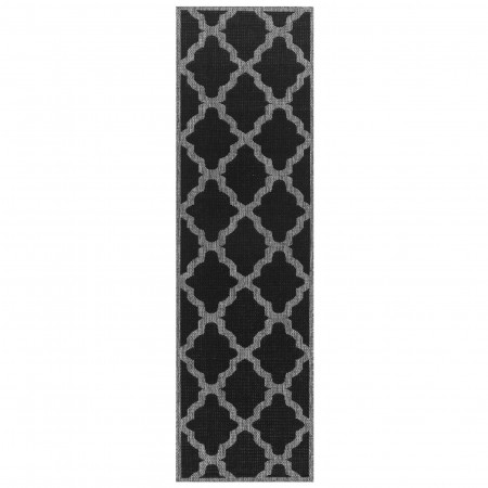 Moda Anti Slip Flatweave Rug - Trellis Black