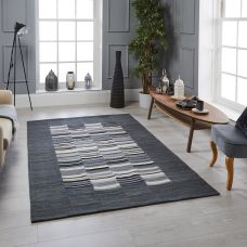 Navajo Striped Rug - Grey