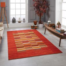 Navajo Striped Rug - Red