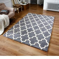 Scrolls Grey Wool & Viscose Rugs