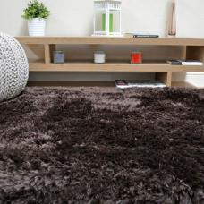 Plush Ultimate Shaggy Silk Rug - Dark Chocolate