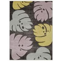 Portland Floral Rug - 7155D Grey Pink Yellow