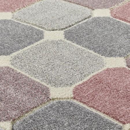 Portland Geometric Runner - 172P Grey Pink Cream