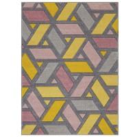 Portland Geometric Rug - 5153U Grey Pink Yellow