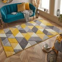 Portland Geometric Rug - 670j Grey Yellow Cream