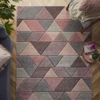 Portland Geometric Rug - 670P Grey Pink Cream