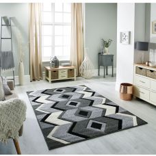 Portland Geometric Ethnic Rug - 1139K Black Grey Chevron