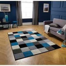 Portland Geometric Rug - 1923Q Blue Black White