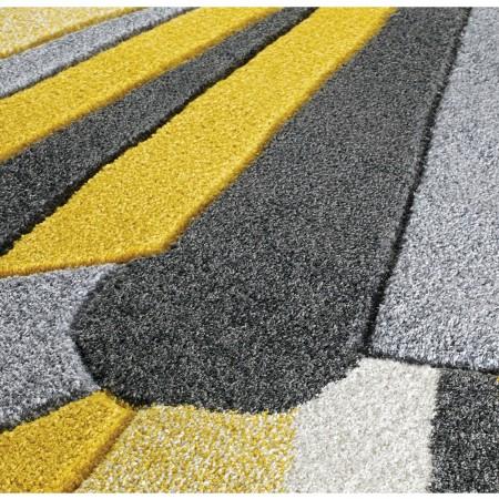 Portland Abstract Runner - 3337A Yellow Grey Cream