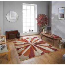Portland Abstract Rug - 3337E Red Orange Beige