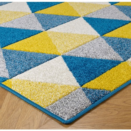 Portland Geometric Runner - 663L Blue Yellow Cream