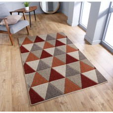 Portland Geometric Rug - 663J Red Orange Beige